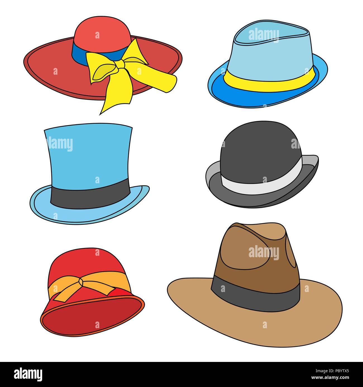 Serie de dibujos animados de sombreros masculinos y femeninos de modelos  antiguos. Aislado en blanco b5137ac4cdc