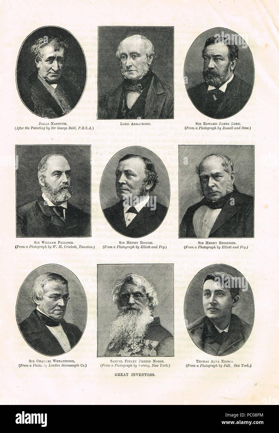 Grandes Inventores del siglo XIX. Imagen De Stock
