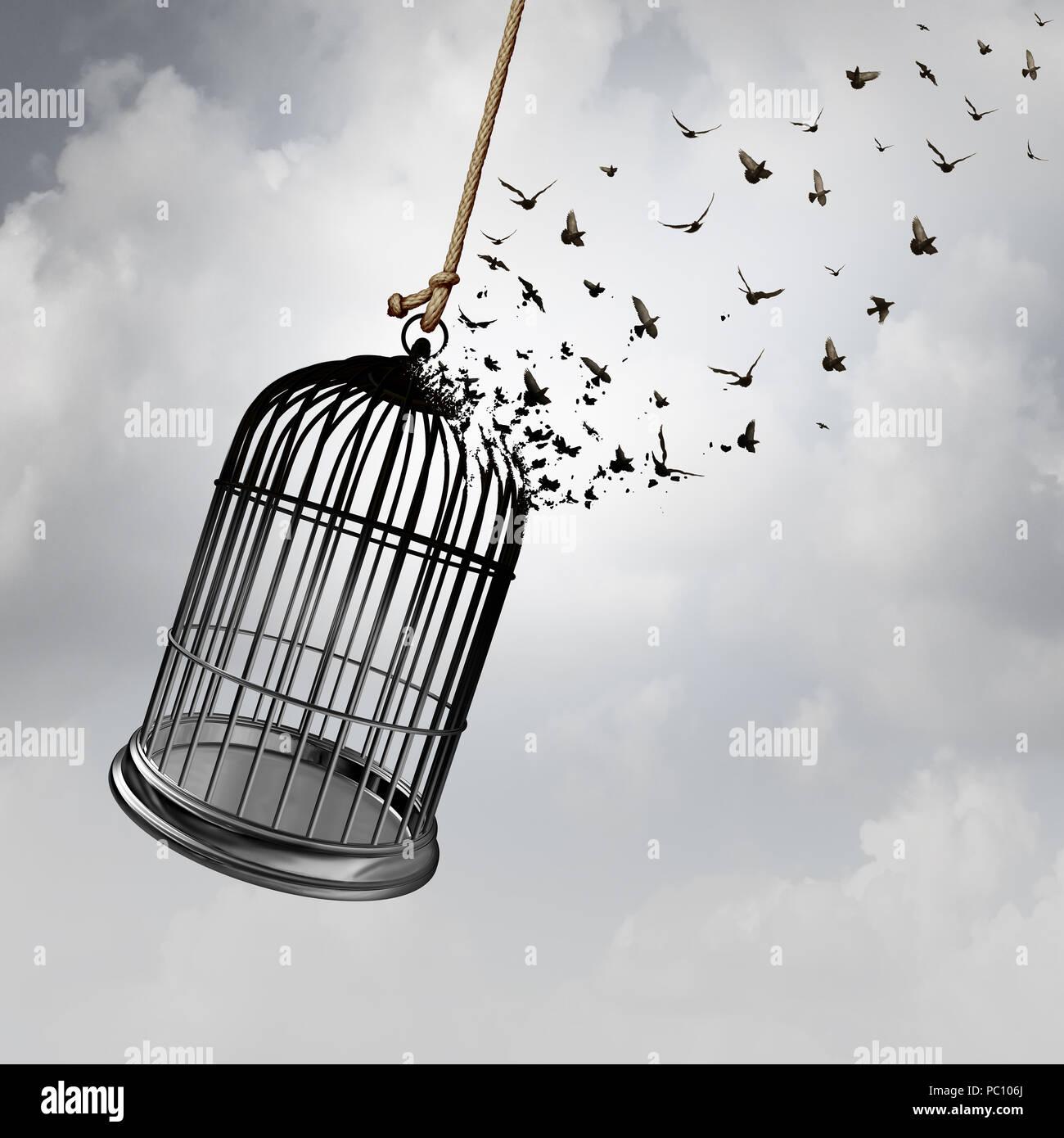 La idea de libertad con un giro en forma de jaula en las aves que vuelan como un cautiverio concepto abstracto con 3D rendering elementos. Imagen De Stock