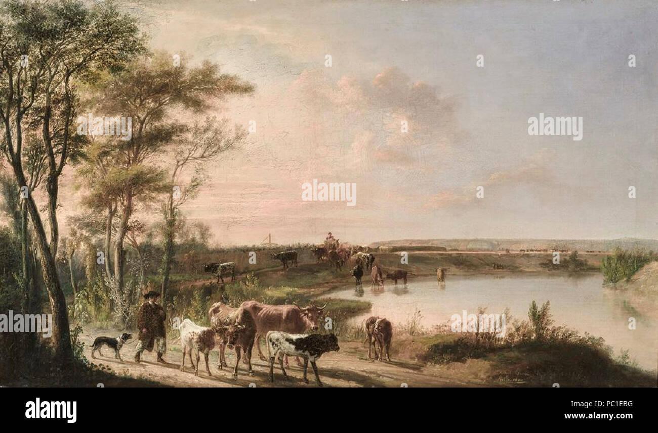 Abrevadero de vacas a orillas del Guadalquivir, Manuel Barrón (Museo de Bellas Artes de Sevilla). Foto de stock