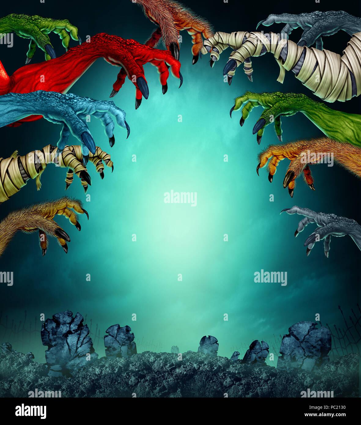 Monstruos en un espeluznante cementerio como agarrando zombie momia, lobo y rojo como un demonio creepy halloween diseño de póster con espacio de copia. Imagen De Stock