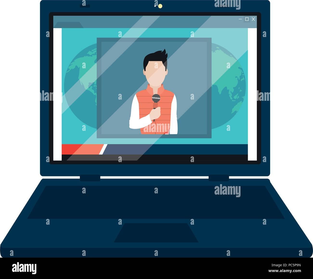 Portátil con el periodista reportaje información Imagen De Stock