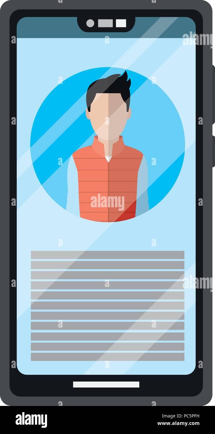Smartphone con periodista reportaje de conferencias multimedia Imagen De Stock
