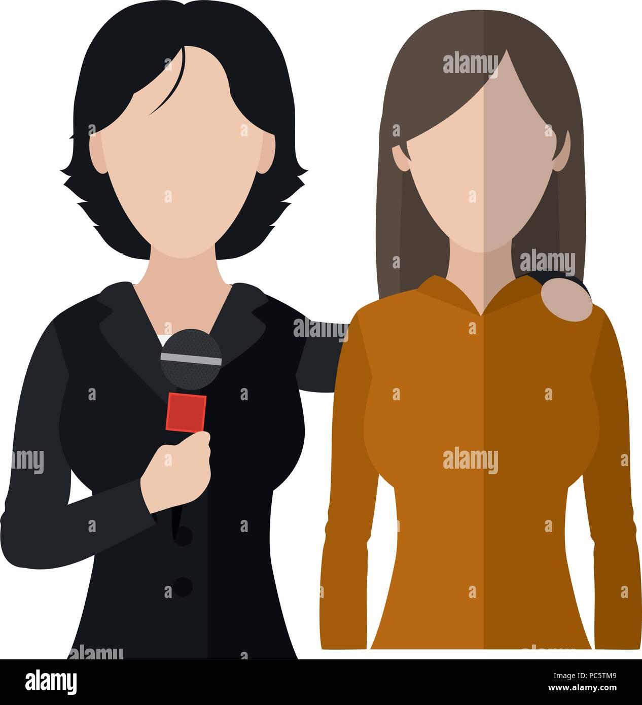 Las mujeres periodistas partner noticias reportajes Imagen De Stock