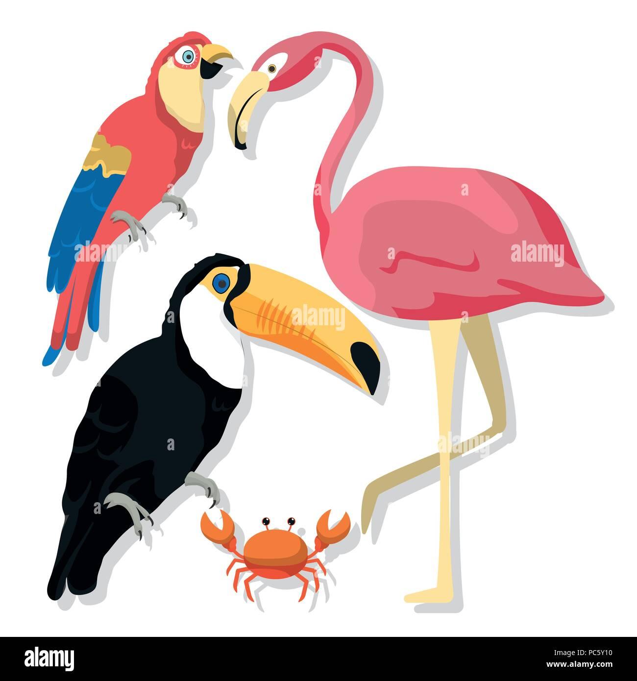 Pájaros Exóticos Dibujos Animados Ilustración Del Vector Imagen