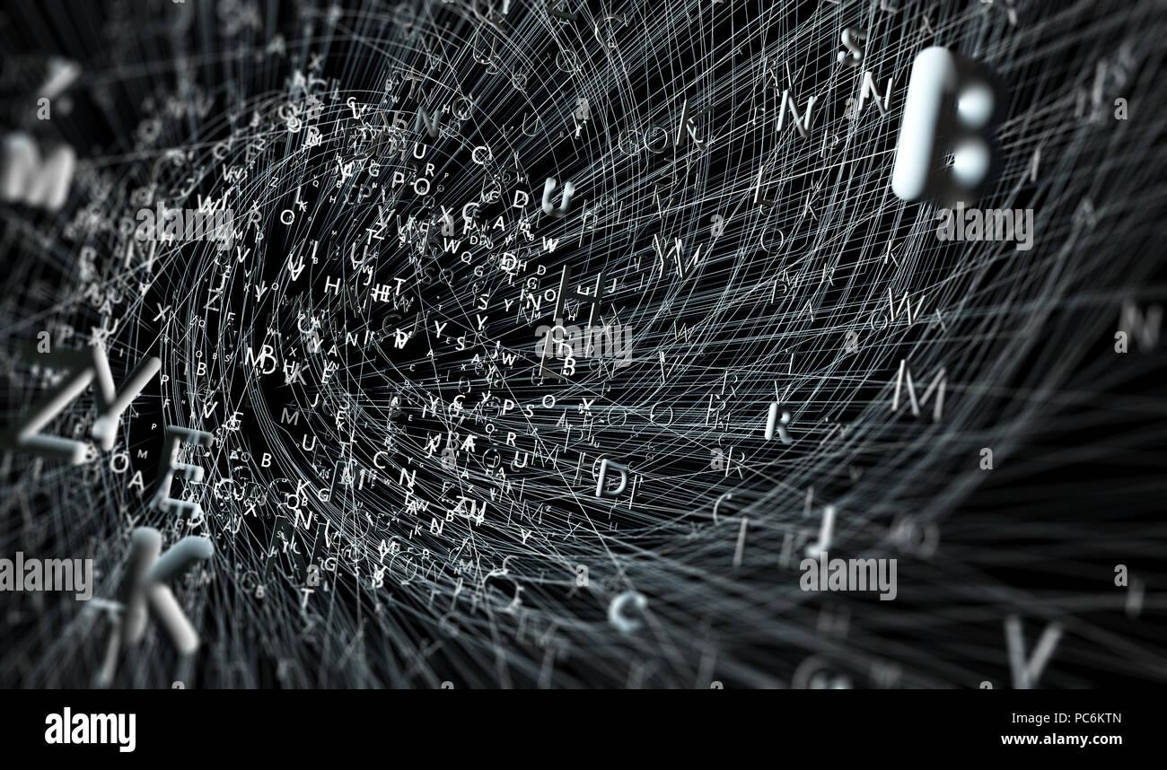 Ilustración 3d.Concepto de escritura creativa y literatura.El poder de las palabras y el lenguaje Imagen De Stock