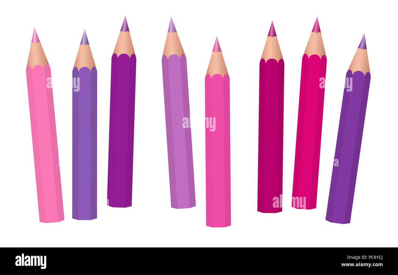 Rosa, morado, fucsia y violeta girl power crayones, lápices corta flojamente organizados - Ilustración sobre fondo blanco. Imagen De Stock