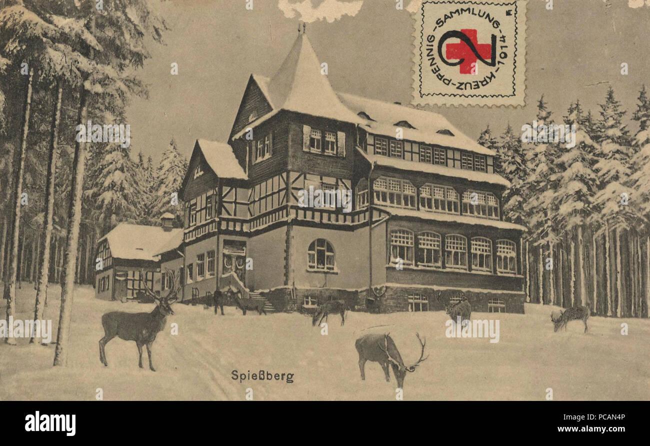 AK Wildfütterung Spießberghaus Friedrichroda, soy um (1910). Foto de stock