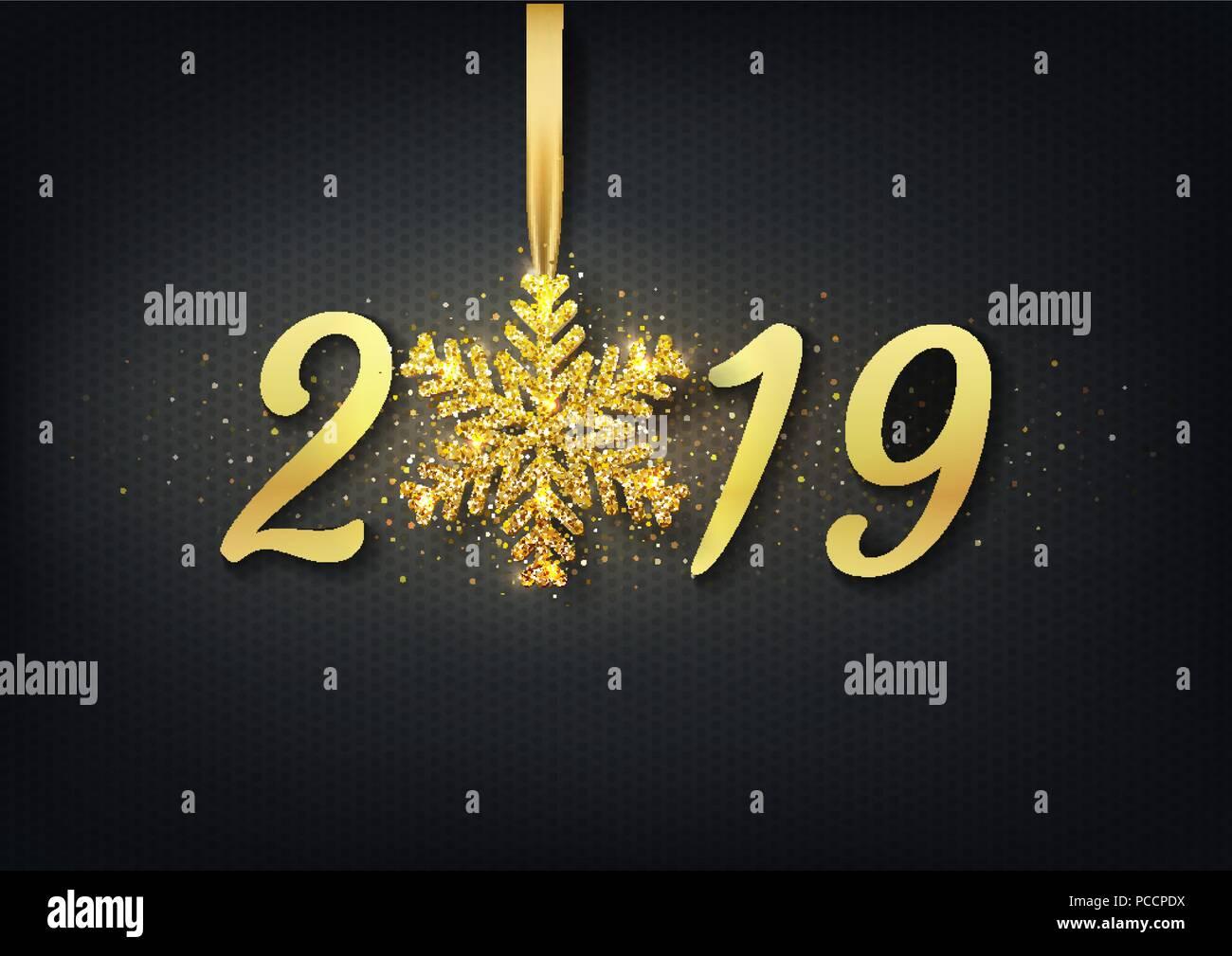 Imagenes Felicitacion Navidad 2019.Tarjeta De Felicitacion Invitacion Con Feliz Ano Nuevo 2019