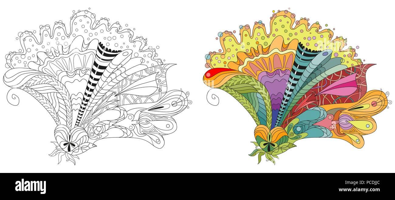Zentangle Flores Estilizadas Dibujadas A Mano Puntilla Ilustracion