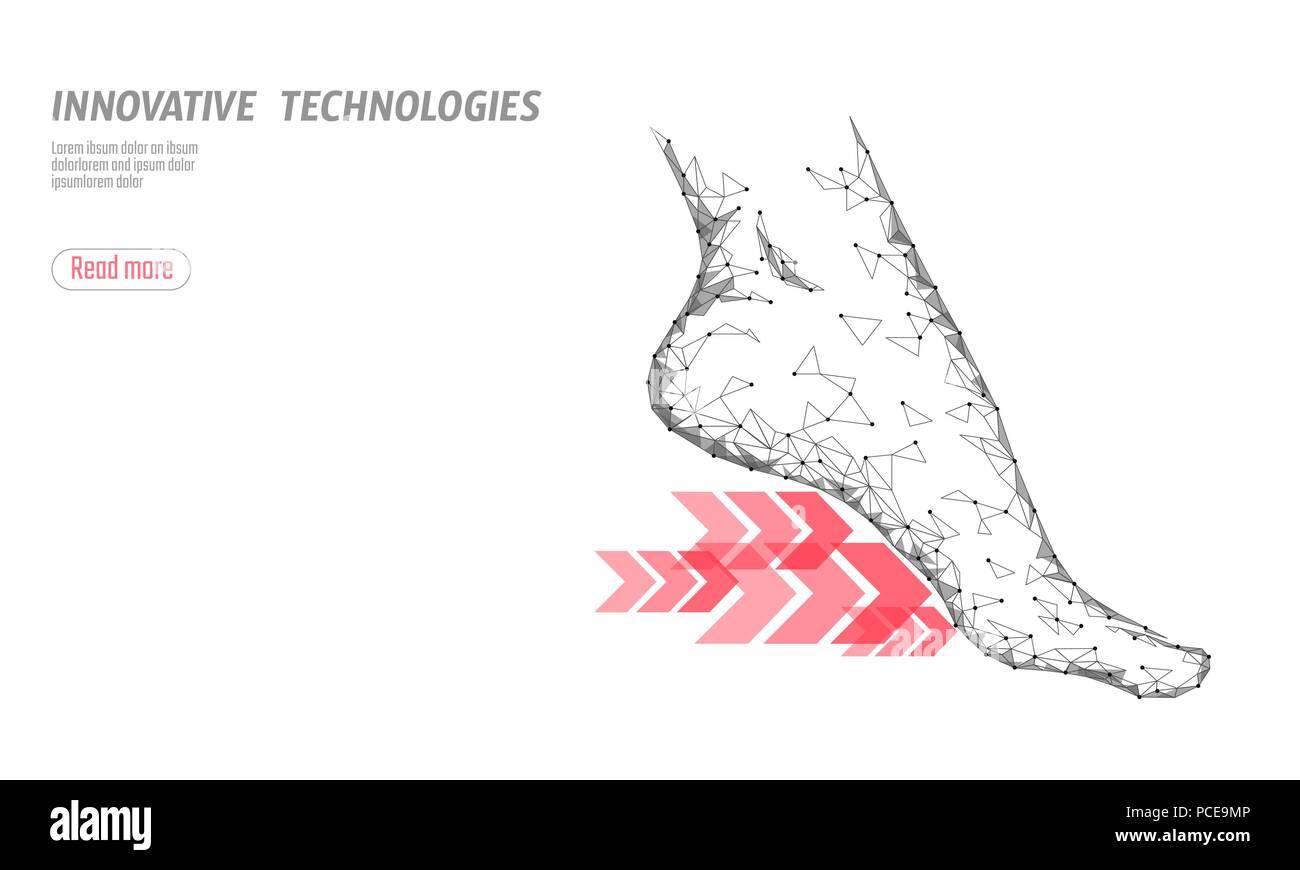 Zapatos de ciencia tecnología fitness flexibilidad. Mujer humana fitness único pie ejecutar rápidas flechas. Baja poli poligonal futurista diseño de calzado deportivo. Ilustración vectorial blanco Imagen De Stock