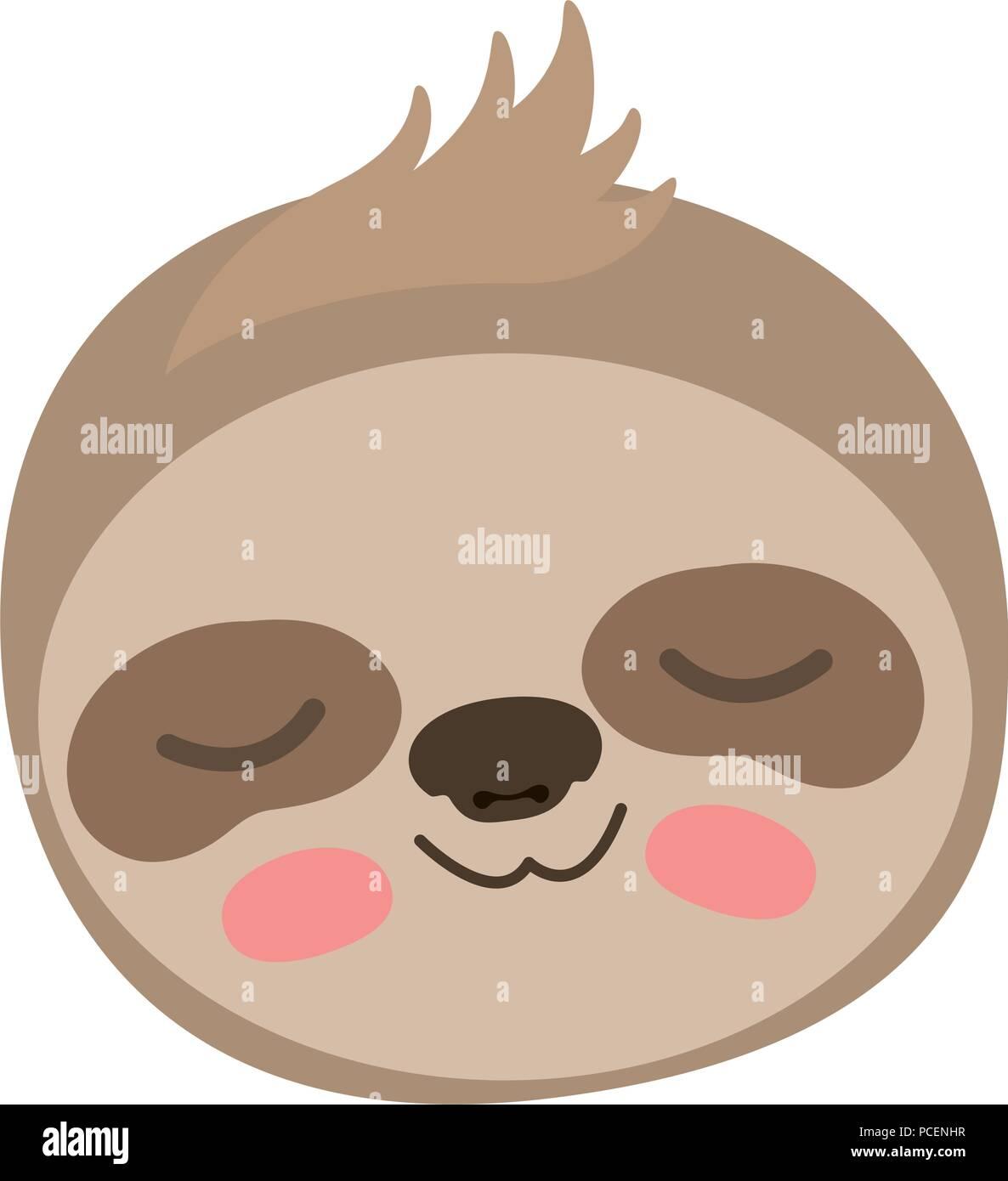 Wild sloth cabeza de animal Ilustración del Vector