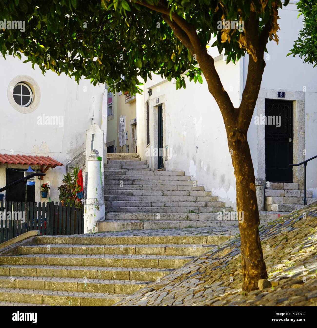 Lisboa. Escalera en Alfama. Imagen De Stock