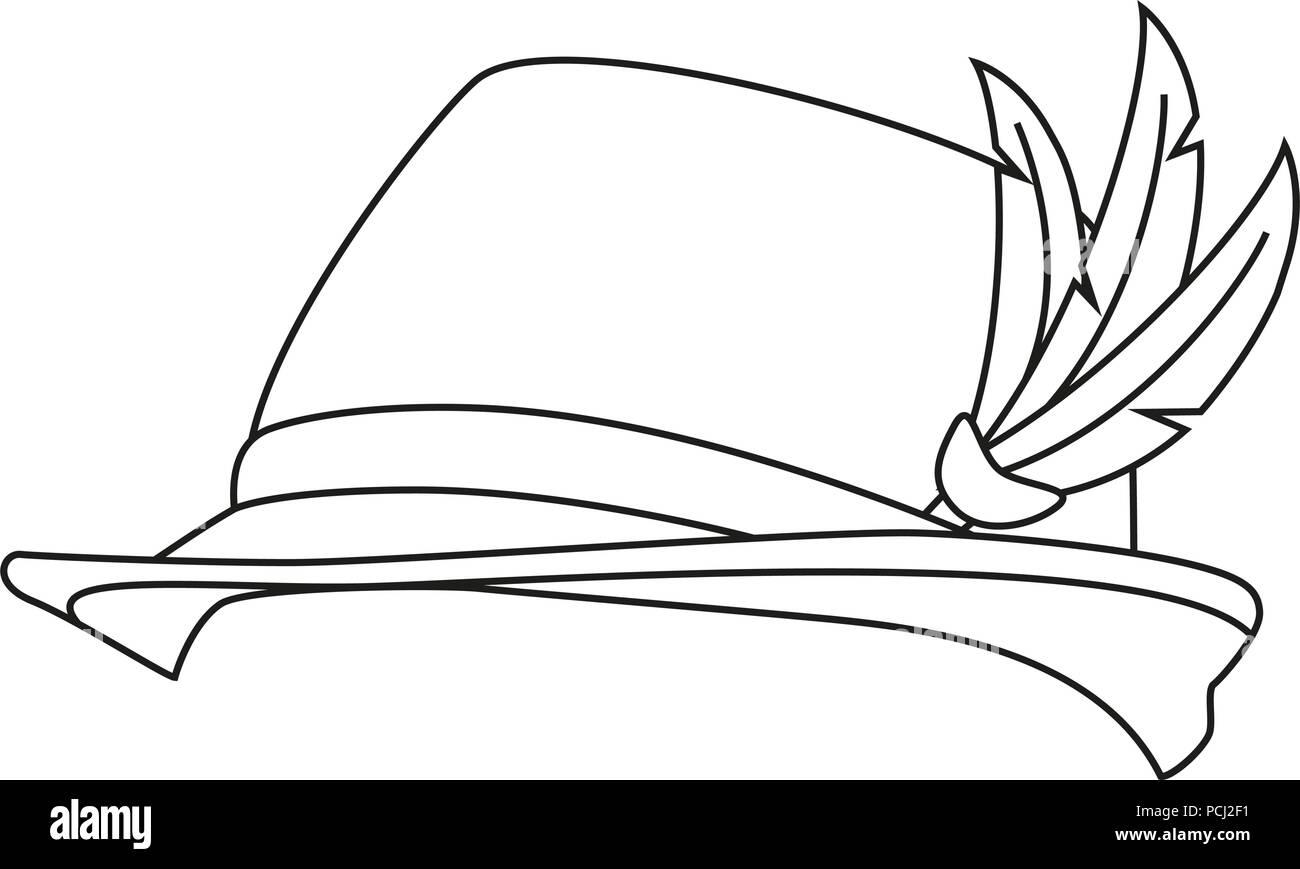 Línea en blanco y negro de arte alemán sombrero de plumas ... a800bc14c48