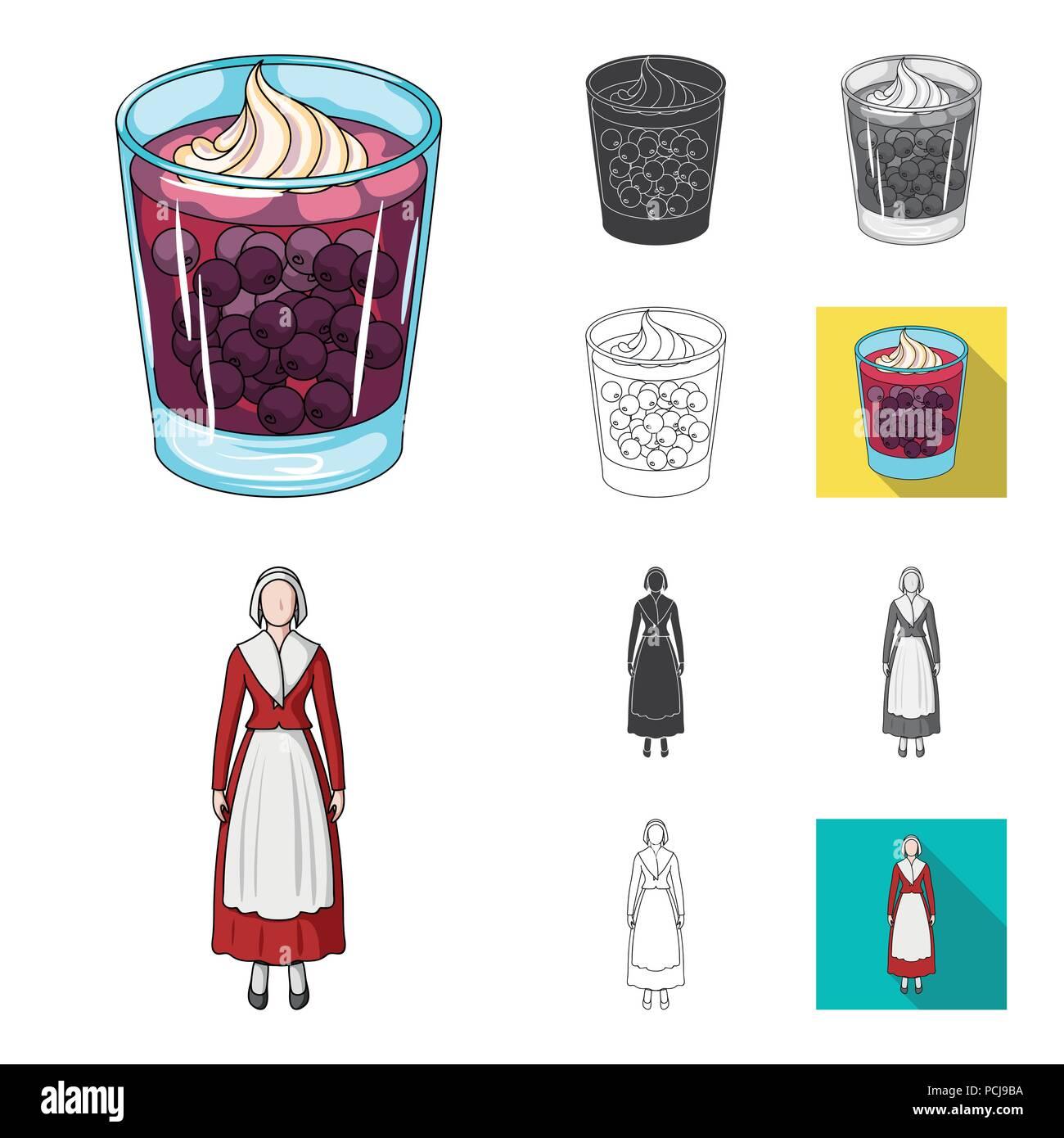 Viajar en Dinamarca cartoon,negro,planas,Esquema monocromo, iconos en conjunto para el diseño. Dinamarca y atracciones vector stock symbol illustrati Ilustración del Vector