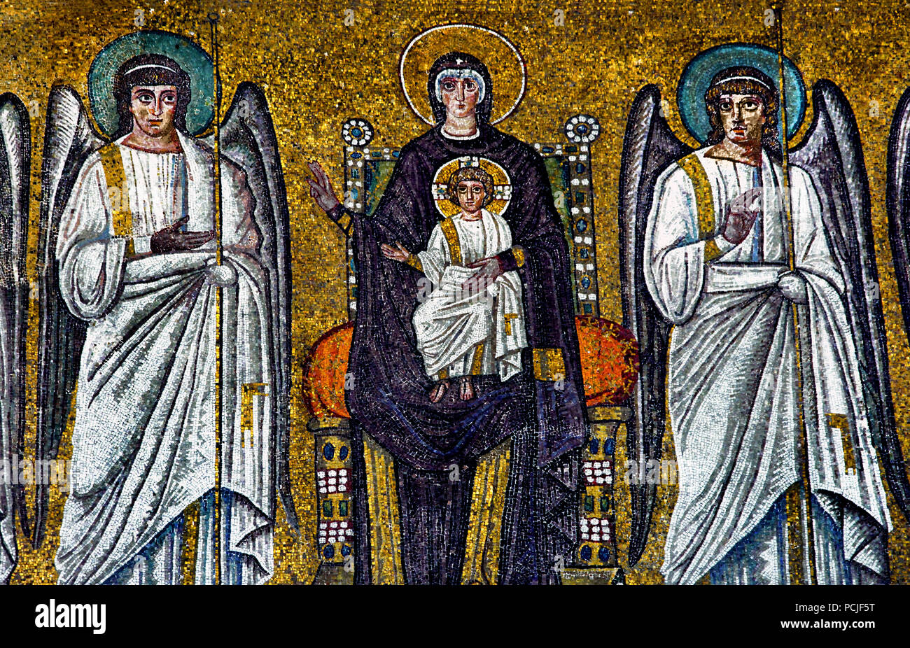 Byzantine Mosaic With Jesus Christ And Angels Imagenes De Stock