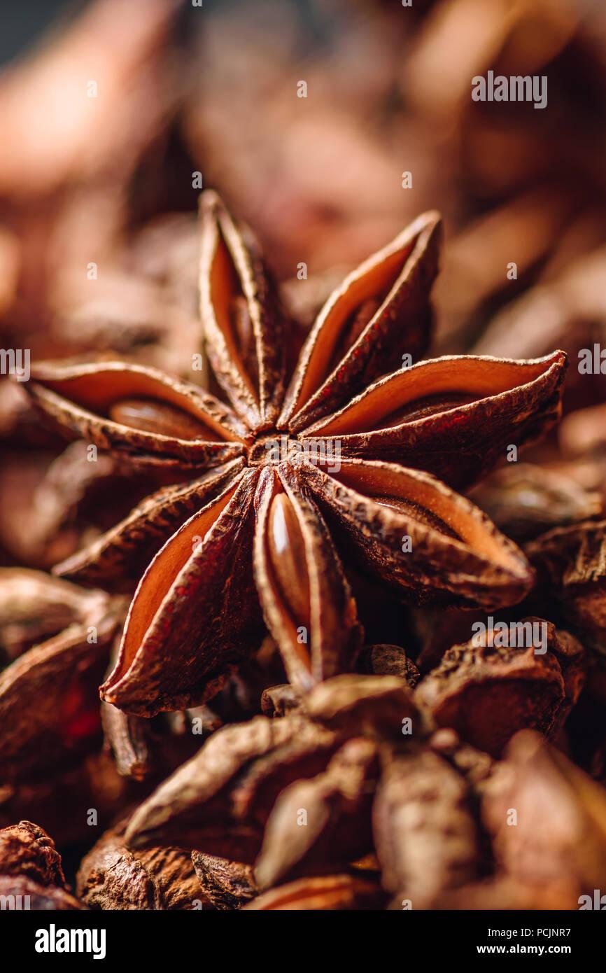 Antecedentes de anís estrellado frutos y semillas. Orientación vertical. Imagen De Stock