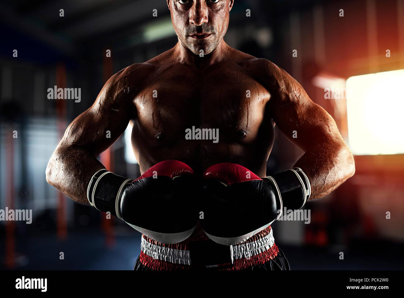Boxer listos para combatir en el gimnasio Imagen De Stock