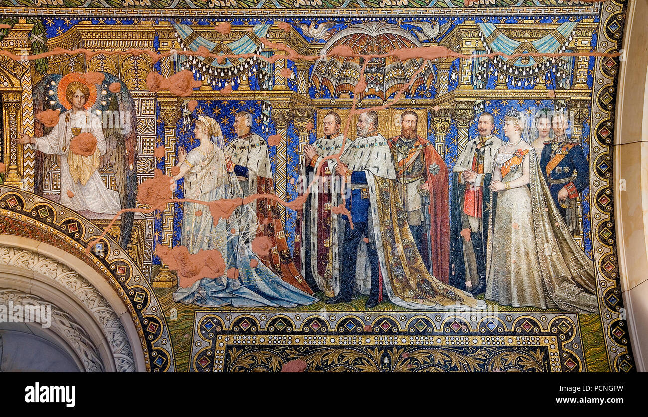 """Vorhalle der alten Kirche, Mosaiken von Hermann Schaper, ausgeführt von der Firma Puhl & Wagner, 'Die jüngeren Hohenzollern"""" Imagen De Stock"""