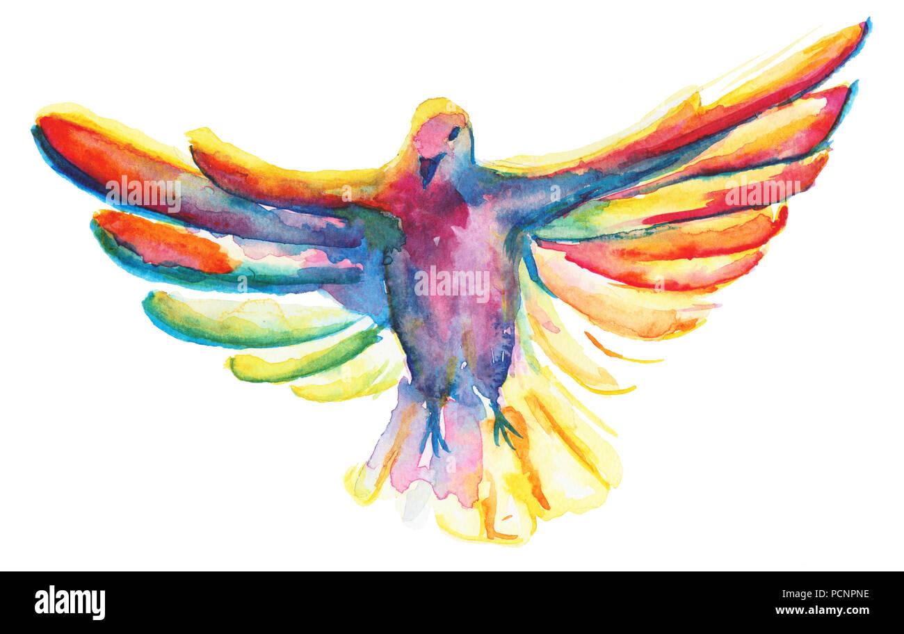 La Acuarela Ilustración Multicolor, Símbolo De La Paloma