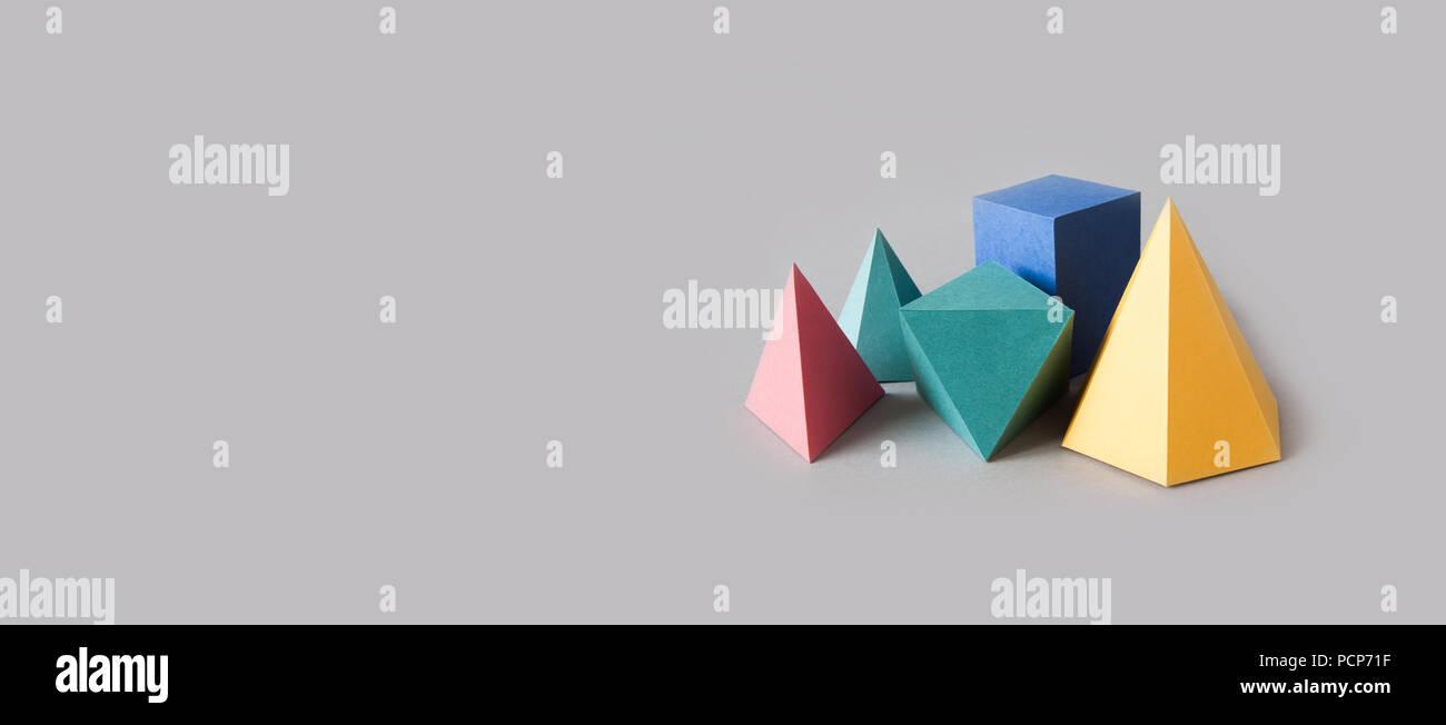 Sólidos Platónicos Coloridas Figuras Geométricas Abstractas Sobre