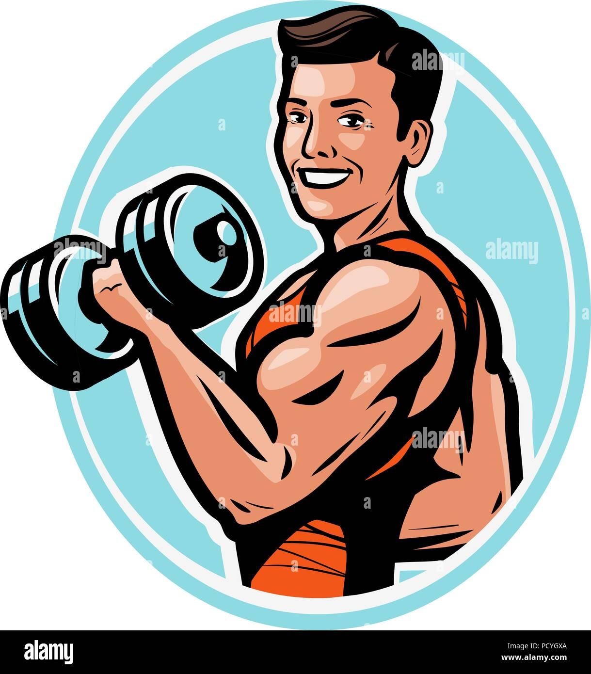 Fuerte athletic hombre levanta pesas pesadas con sus manos. Gimnasio,body-building concept. ilustración vectorial Imagen De Stock