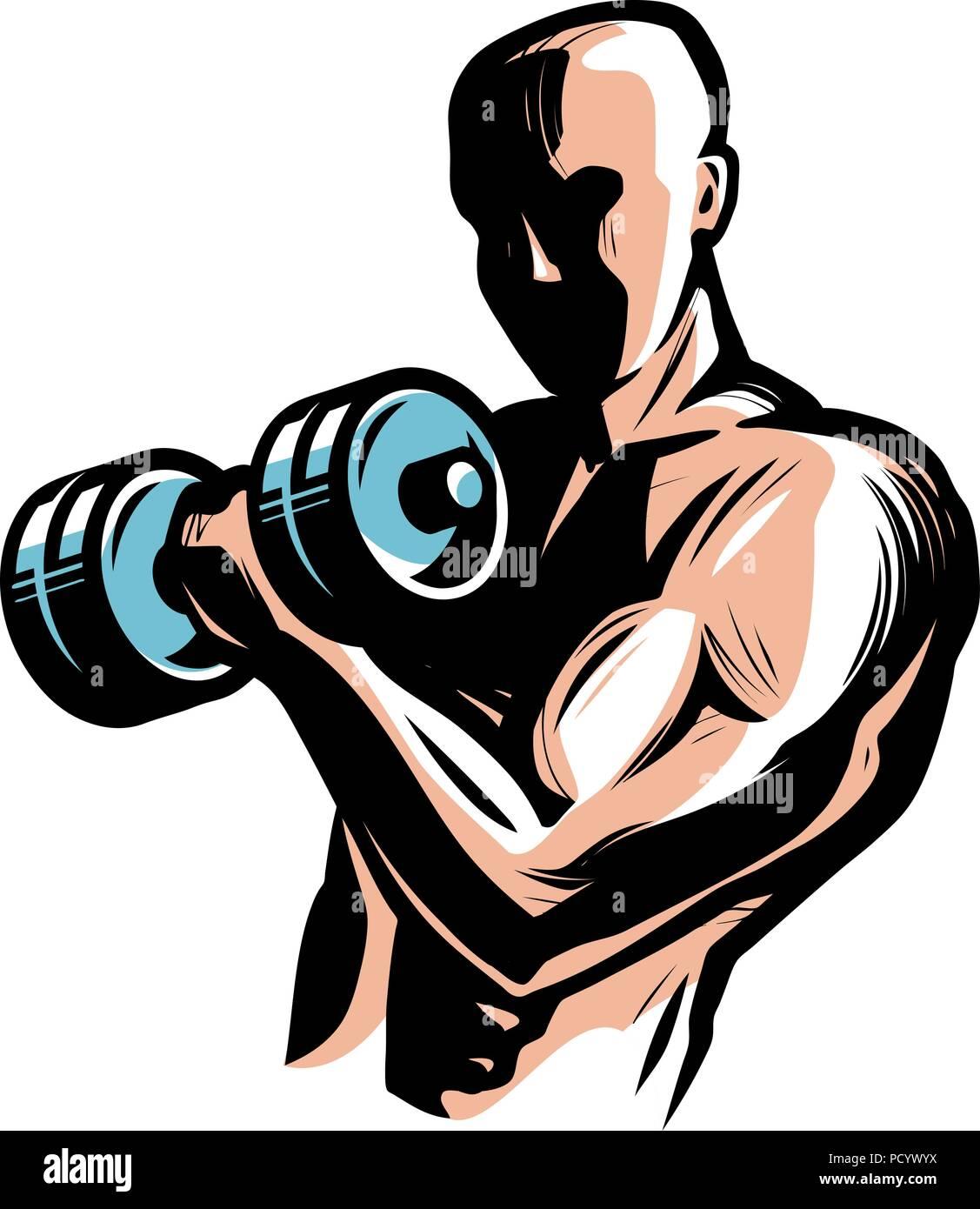 Fuerte athletic hombre levanta pesas pesadas con sus manos. Gimnasio, body-building concept. Ilustración vectorial Imagen De Stock
