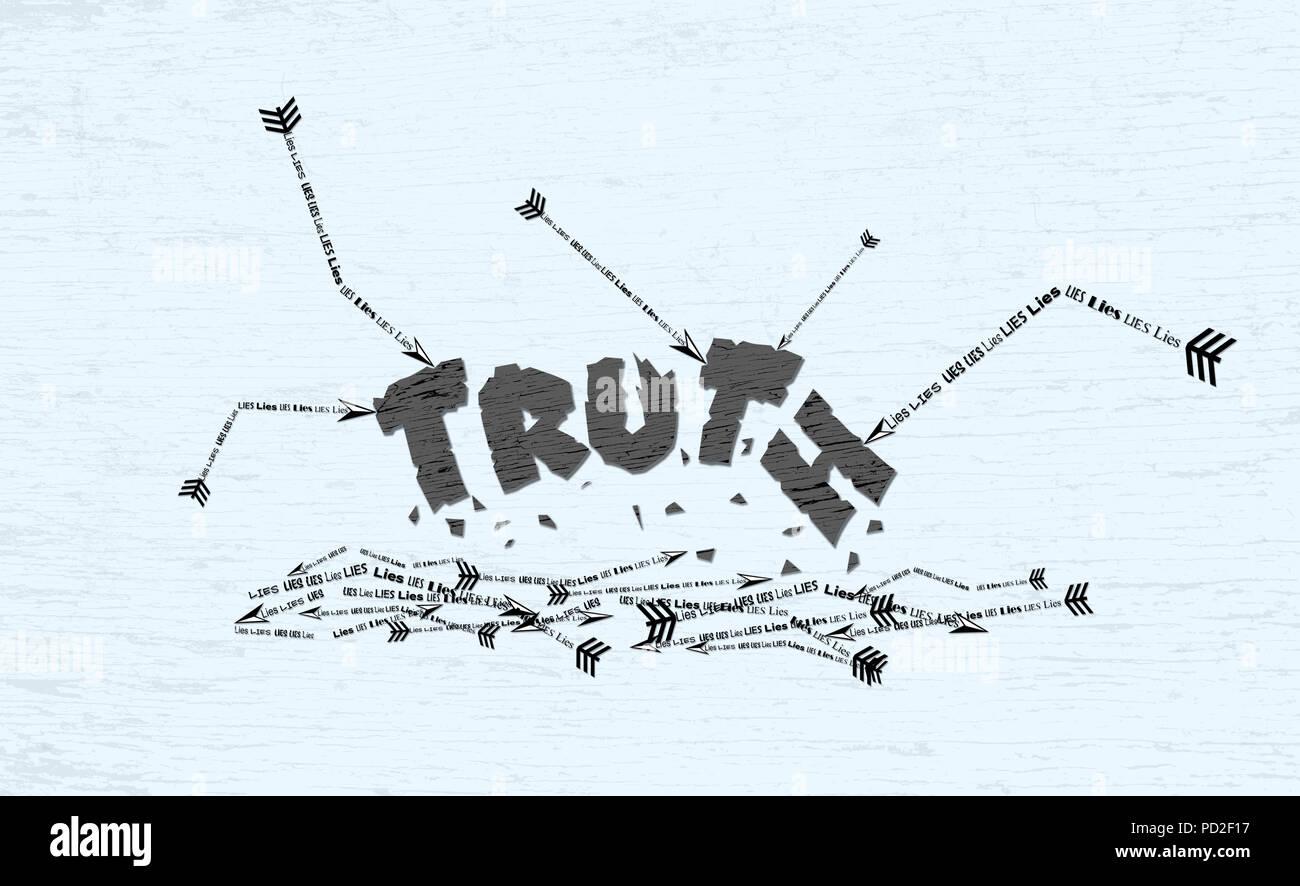 Ilustración Del Concepto De Verdad Está Destrozado Y Roto Por