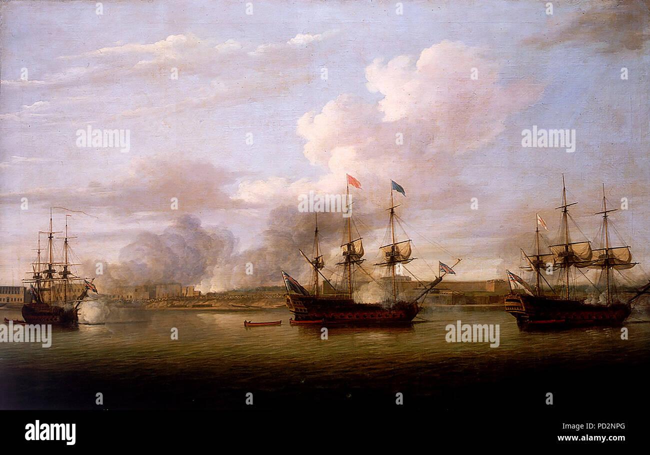 Atacar y capturar la posición de la compañía francesa de las Indias en Chandernagore en 1757 durante la guerra de los siete años. Dominic Serres, 1771 Foto de stock