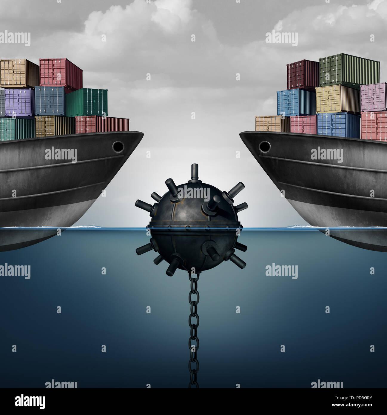 Peligro la actividad empresarial como una mina de mar poniendo en peligro el libre comercio y la política económica como una economía global corporativa desafío debido a la directiva. Imagen De Stock