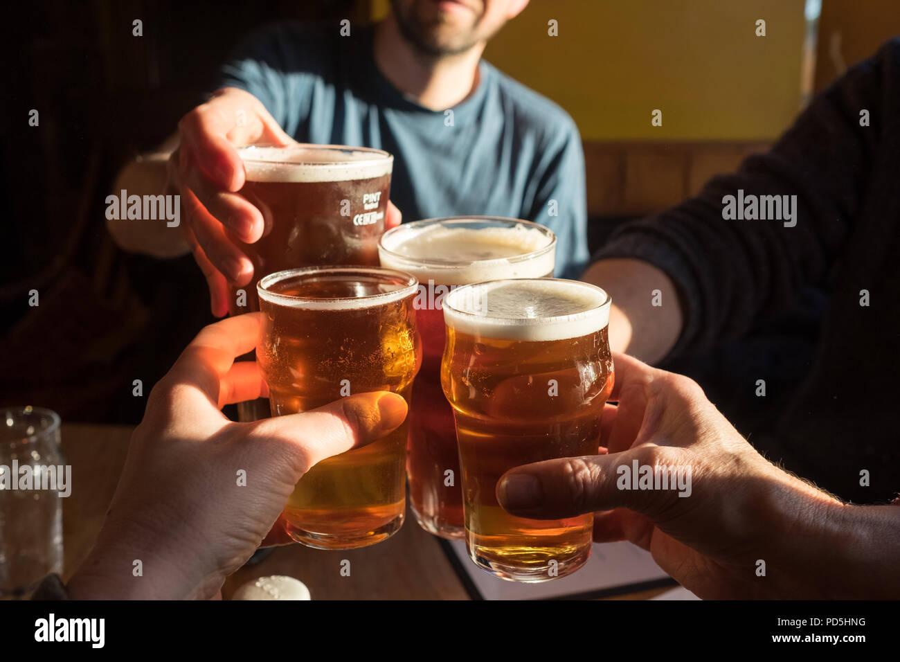 Un grupo de cuatro vasos tintineo (2 pintas de cerveza de barril y 2 medias pintas de sidra) y decir cheers en el Black Bull Inn en Frosterley, County Durham, Reino Unido. Imagen De Stock