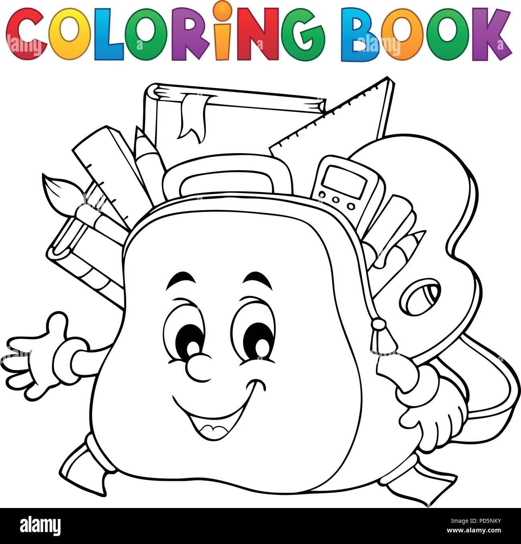 Libro Para Colorear De Mochilas Escolares Feliz Tema 1 Eps10
