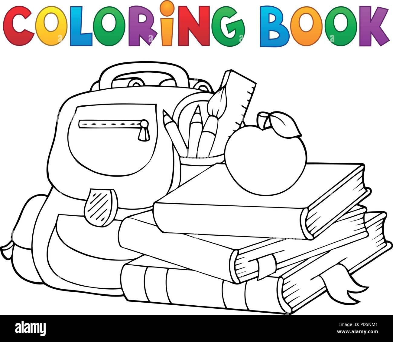 Libro Para Colorear De Material Escolar 1 Eps10