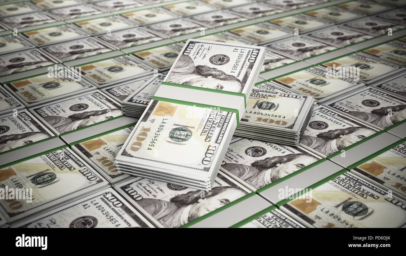 Apilar 100 dólares billetes de dinero. Concepto de negocio y el éxito. Ilustración 3D. Imagen De Stock