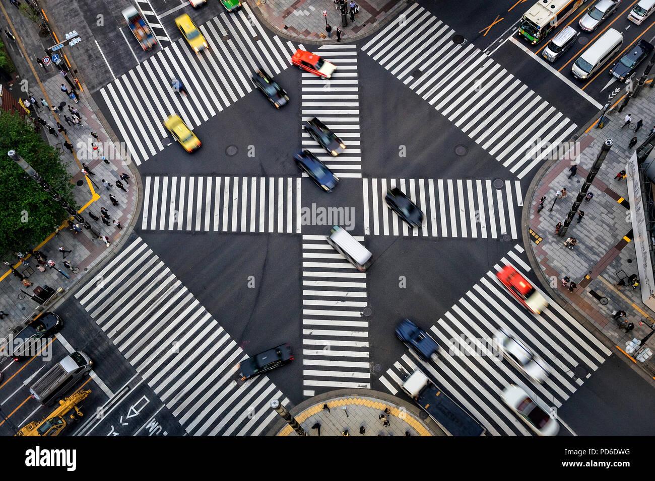 La isla de Japón, Honshu, Kanto, Tokio, vista aérea sobre el barrio de Ginza. Imagen De Stock