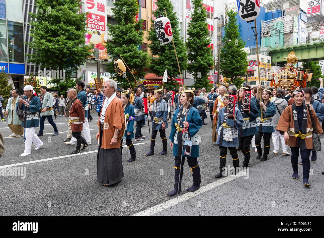 La isla de Japón, Honshu, Kanto, Tokio, festival, el Kanda matsuri. Imagen De Stock