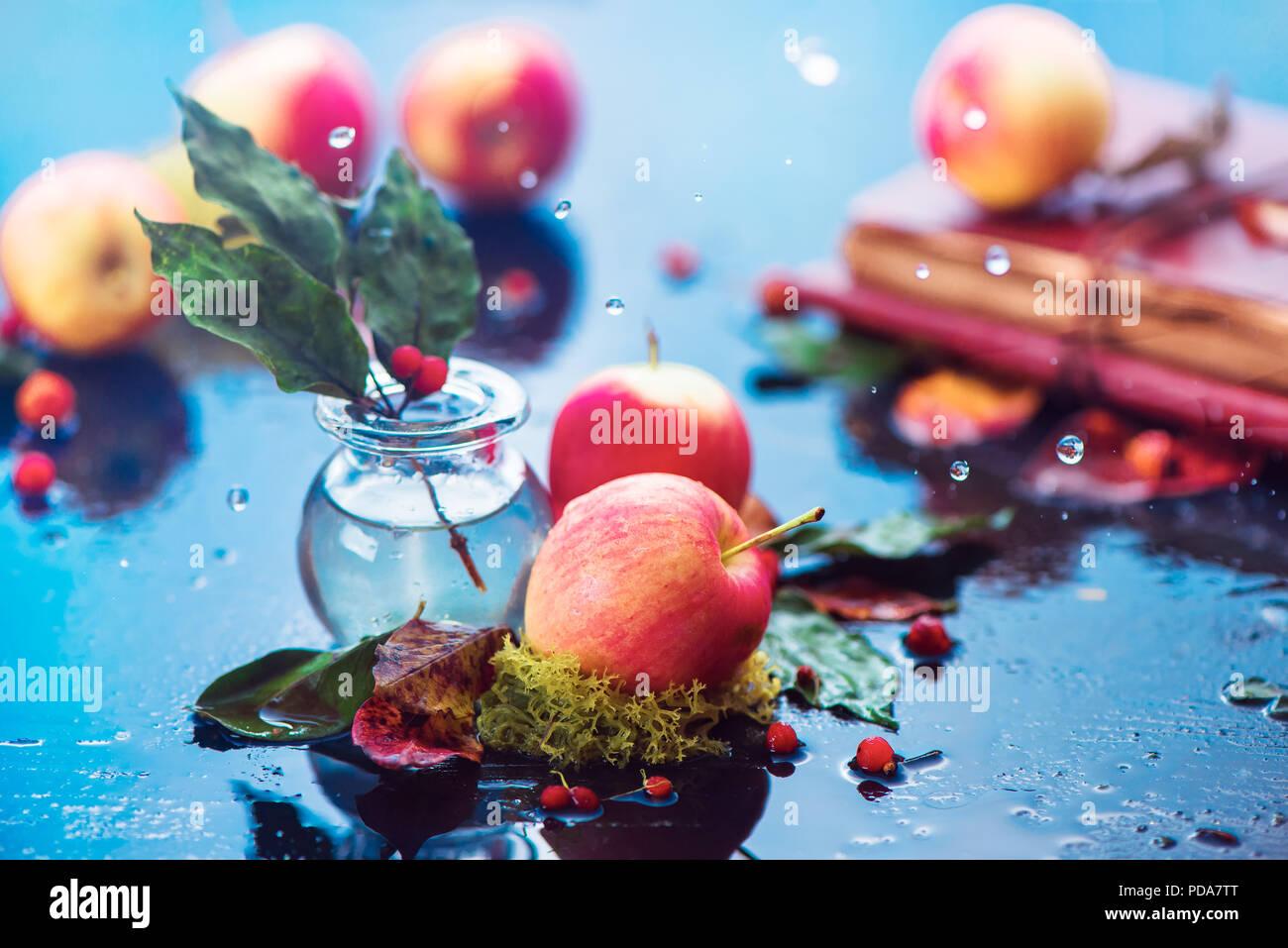 Otoño las manzanas aún la vida. Cabezal de cosecha de otoño bajo la lluvia con gotas de agua y espacio de copia. Ranet orgánicos pequeño rojo de las manzanas con una jarra de cristal y hojas caídas Imagen De Stock