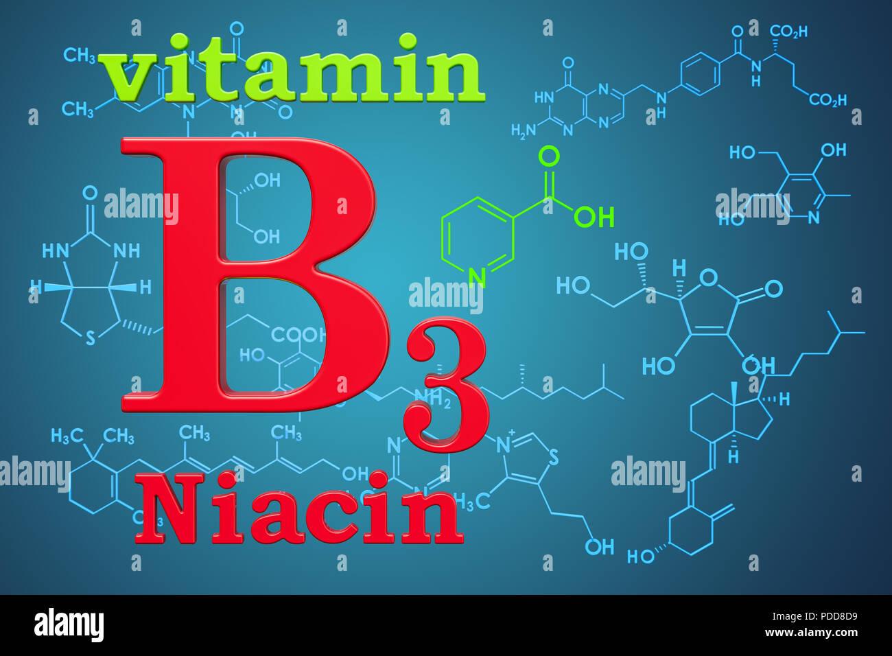 La Vitamina B3 Niacina Fórmula Química Estructura