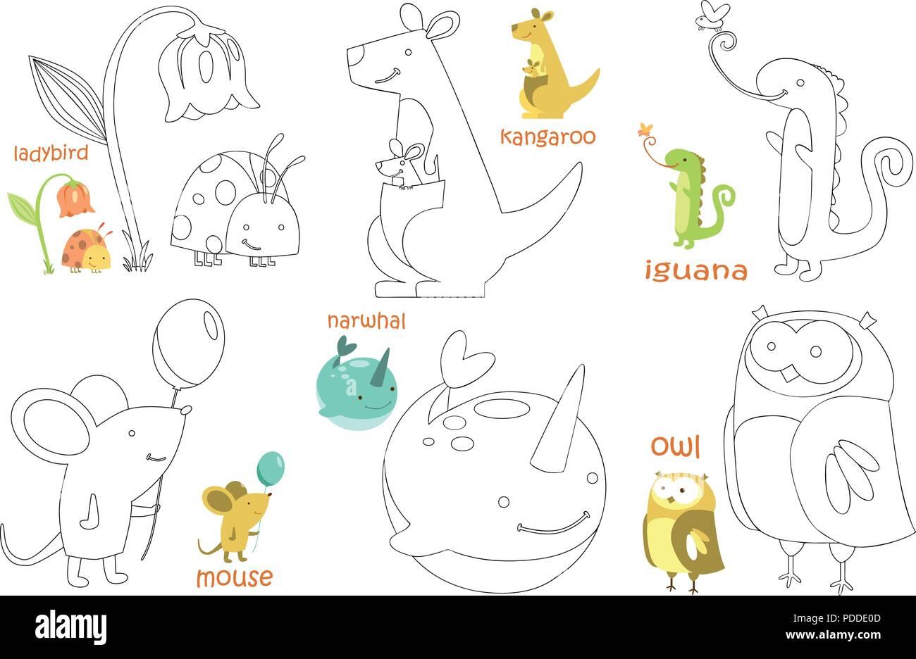Página para colorear para niños. Libro para colorear con el animal. Doodle ilustración  vectorial b8c90ff4894