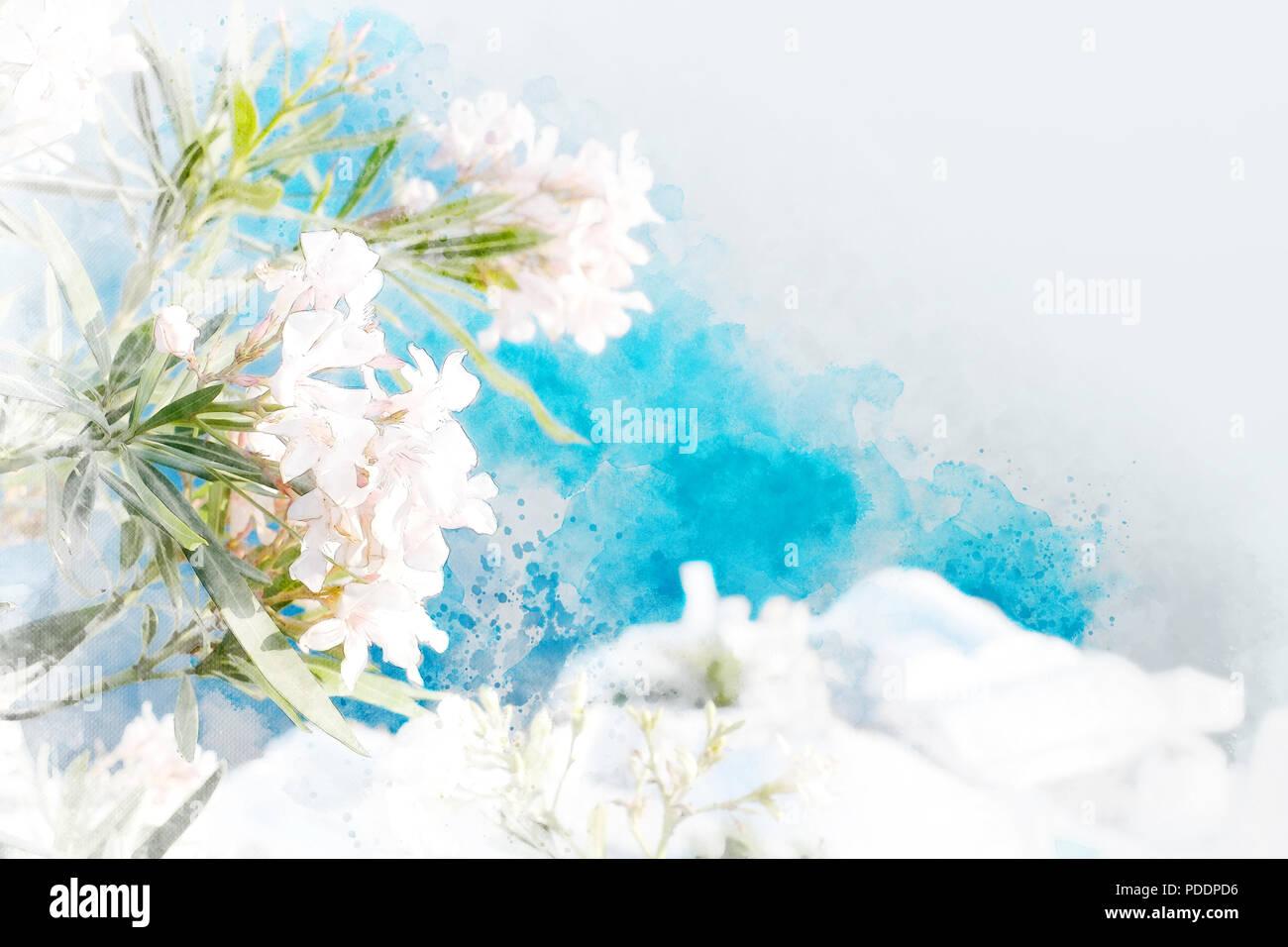 Hermosas flores en la isla de Santorini, Oia, Grecia. Mezclar boceto dibujados a mano ilustración Imagen De Stock