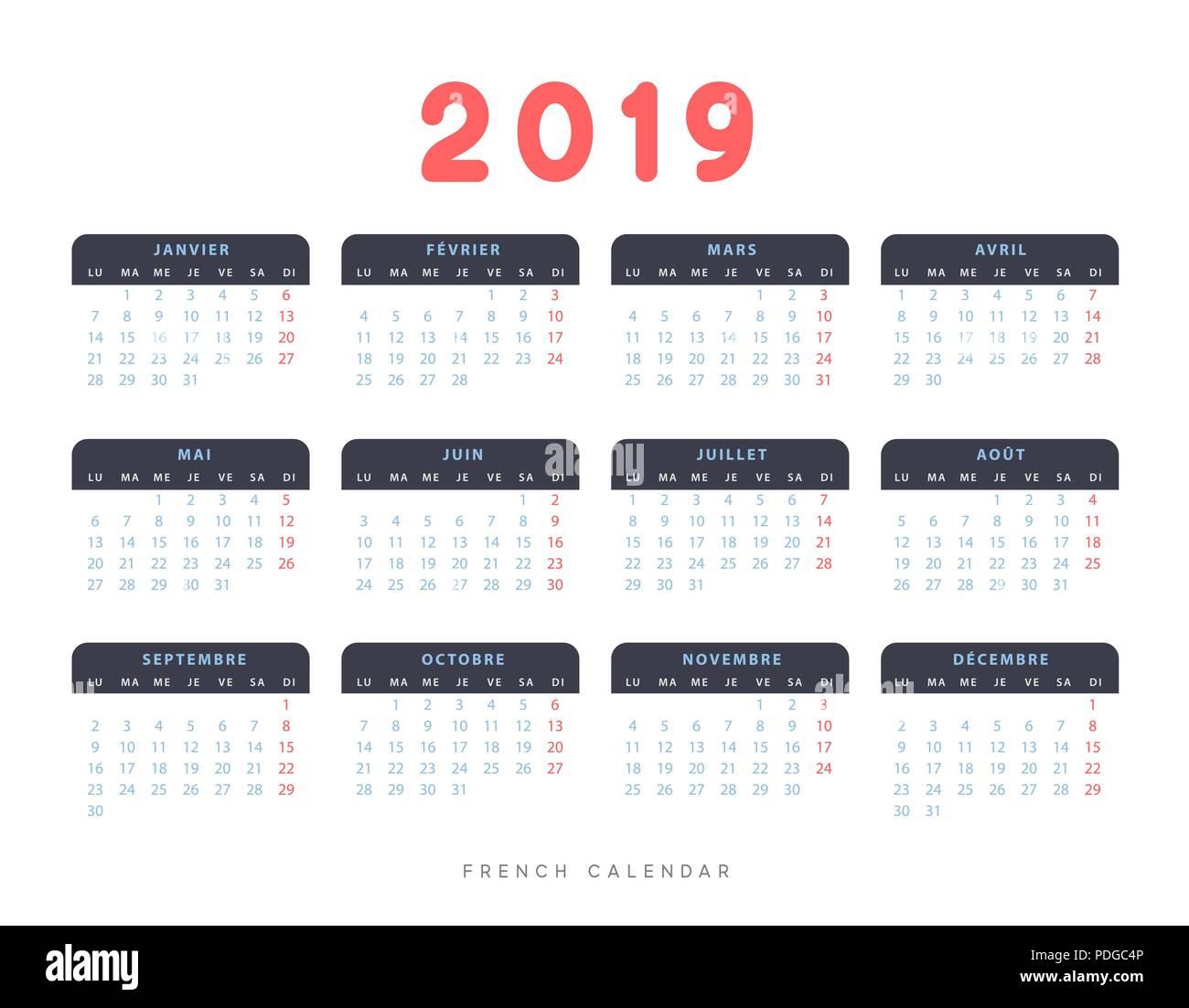 Calendario Frances.Simple Calendario Frances De 2019 Anos La Semana Comienza