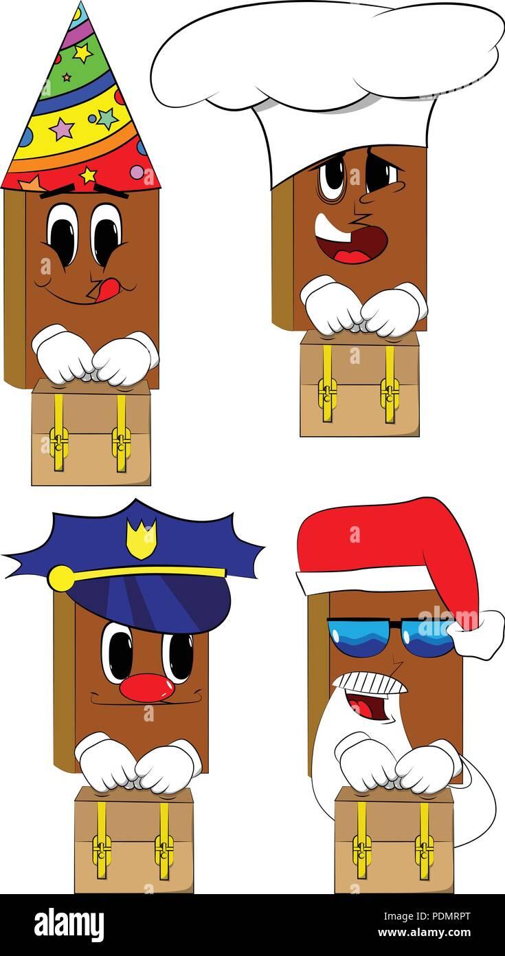 Libros sosteniendo maleta pequeña. Colección de libros de dibujos animados  con caras de disfraces. b18e3611cc16