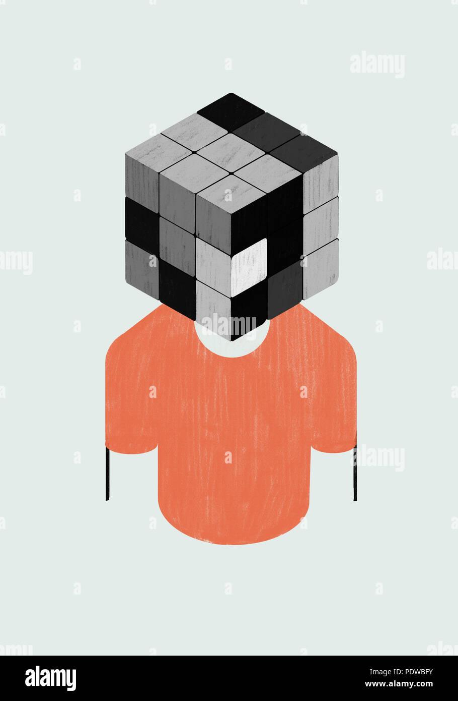 Psicología. Concepto metáfora de escala de grises. La mente como un cubo Rubik. Imagen De Stock