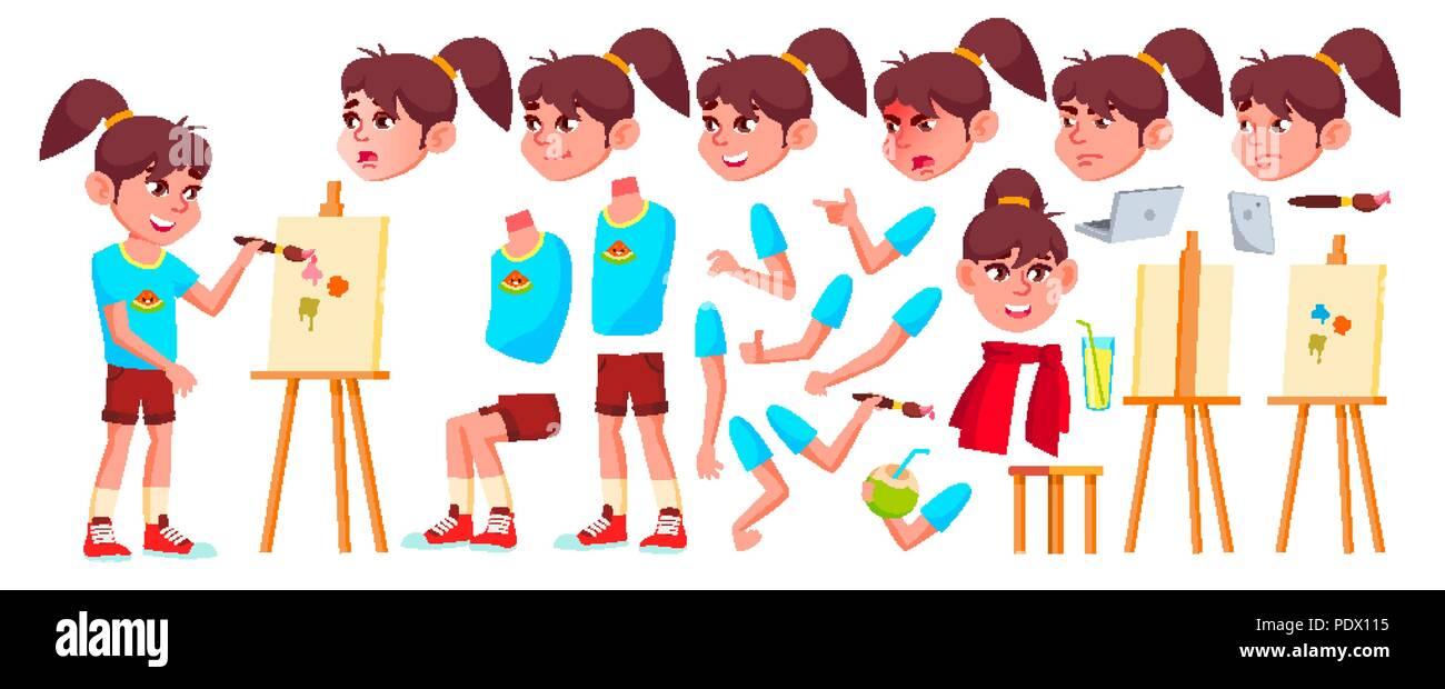 Chica Colegiala Kid Vector Los Ninos De La Escuela Alta Creacion