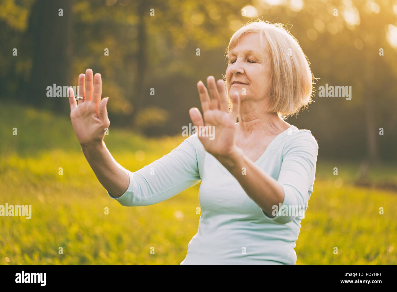 Senior mujer goza de ejercicio Tai Chi en la naturaleza.Imagen es intencionalmente tonificado. Imagen De Stock