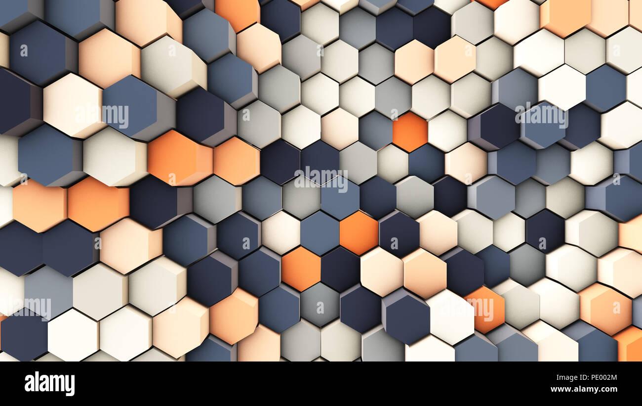 Ilustración 3D, fondo dinámico de tubos hexagonales Foto de stock
