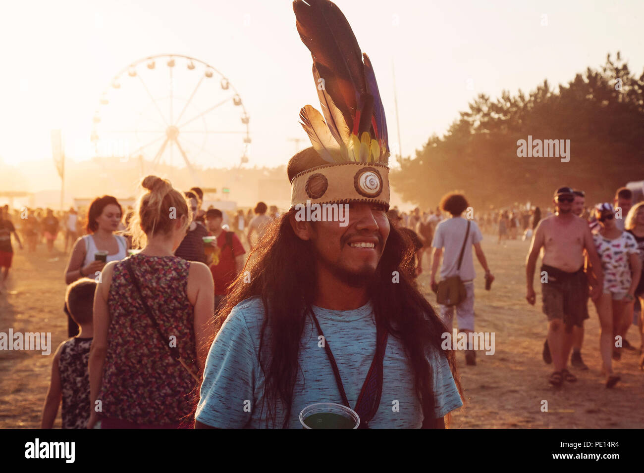 Kostrzyn nad Odra, Polonia, 4 de agosto de 2018, Woodstock Polonia Rock festival visitante Imagen De Stock