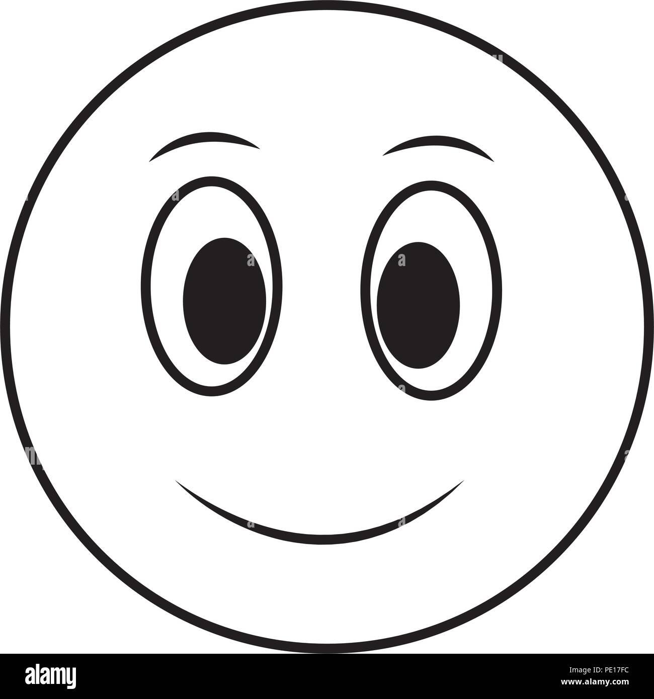 Gran Cara Sonriente Cara Feliz Ilustración Vectorial En Blanco Y Negro Imagen Vector De Stock Alamy