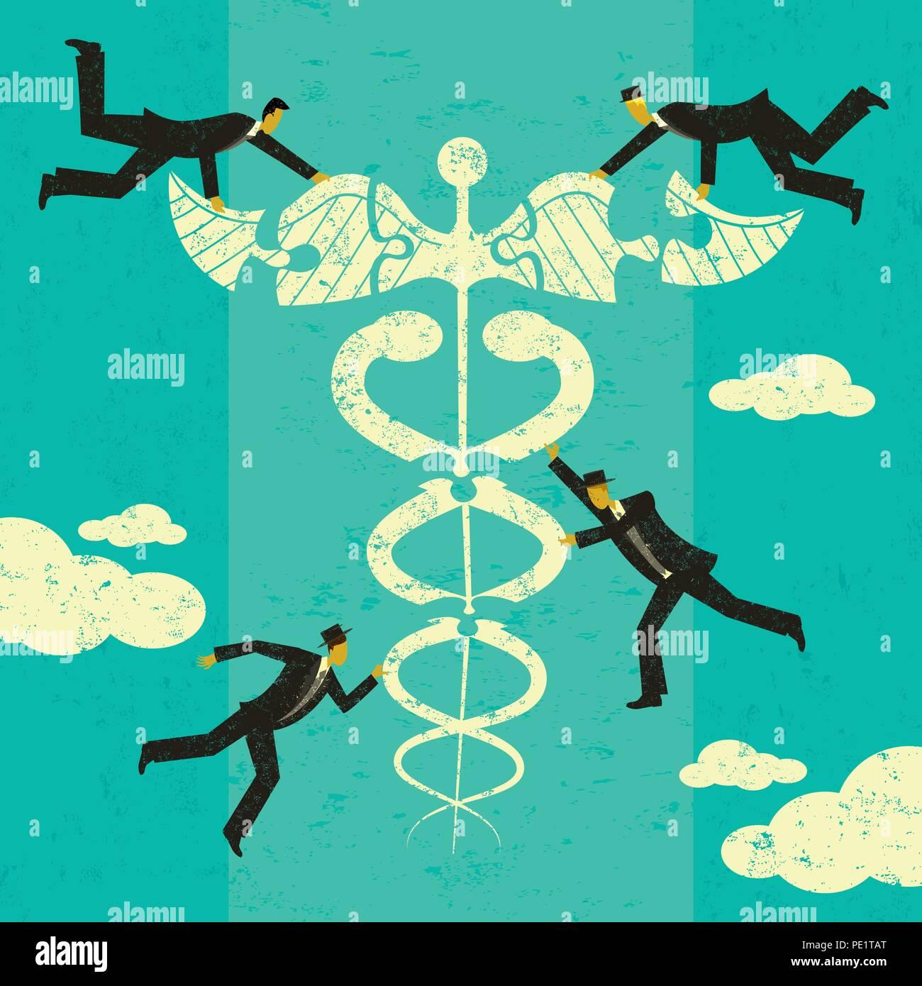 Soluciones a los problemas de salud. Un grupo de hombres poniendo las piezas de un rompecabezas juntos para encontrar soluciones para el sector sanitario. Imagen De Stock