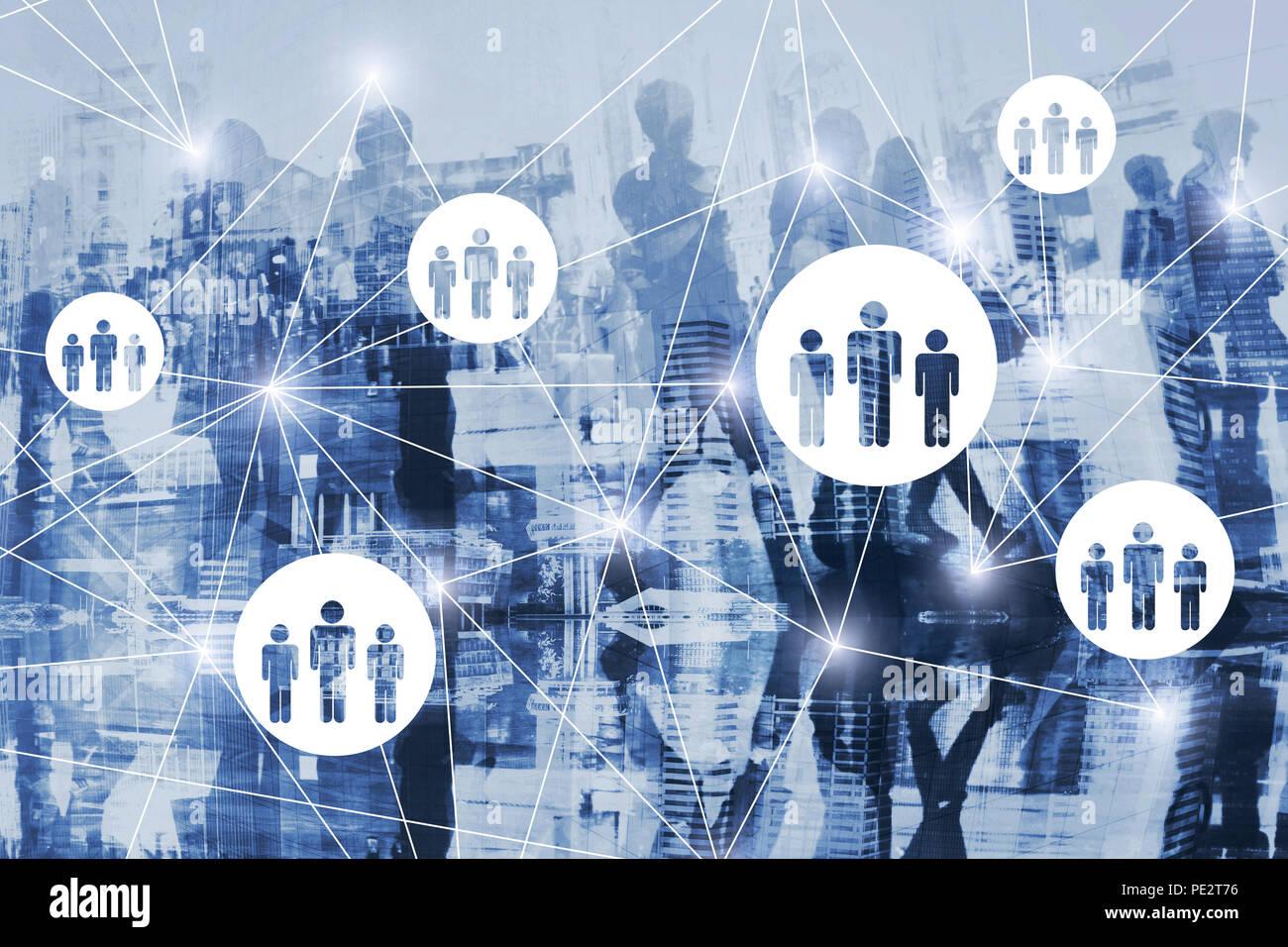 HR, recursos humanos Diagrama de concepto de doble exposición, sistema de red virtual con la gente, la comunidad, la sociedad en línea Imagen De Stock